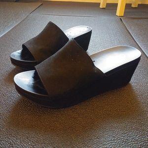 Black platform heel slide sandals